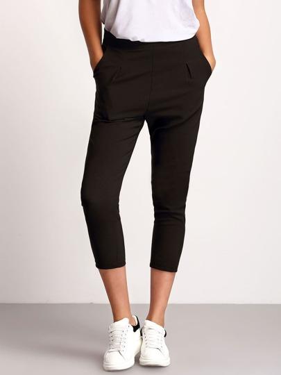 Black Slim Pockets Crop Pant