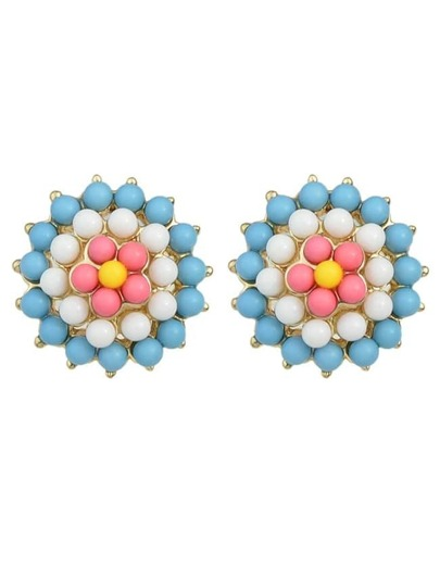 Blue Gemstone Beads Flower Earrings