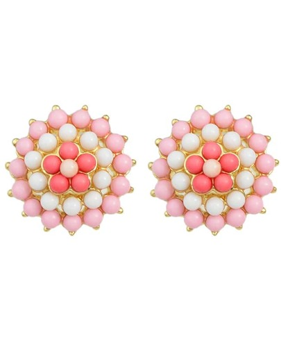 Pink Gemstone Beads Flower Earrings
