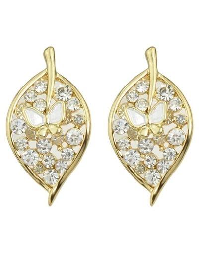 White Rhinestone Leaf Stud Earrings