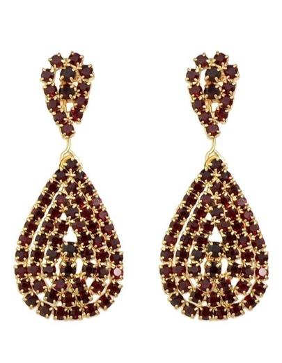 Red Rhinstone Drop Earrings