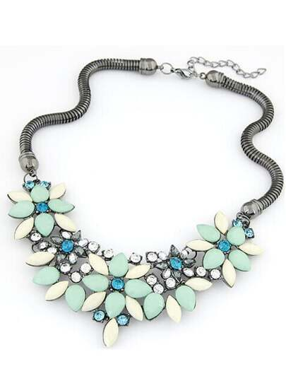 Blue Gemstone Flower Shaped Necklace