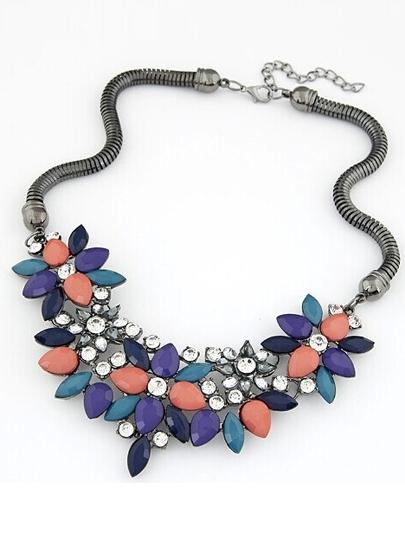 Collana goccia pietra preziosa a forma di Fiore Multicolore