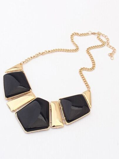 Black Geometric Gemstone Necklace