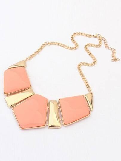 Collar geométrico piedra preciosa -naranja