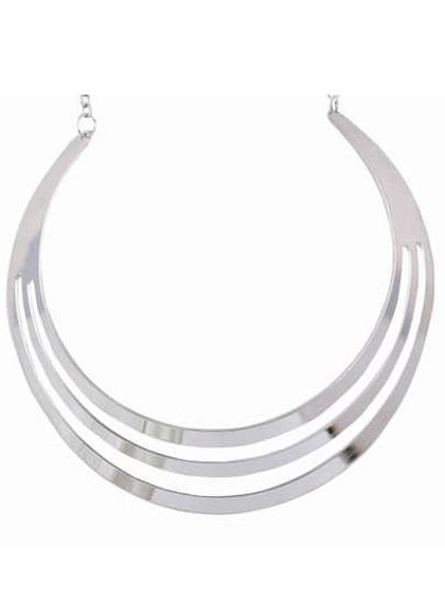Silver Three Layers Metallic Circle Necklace
