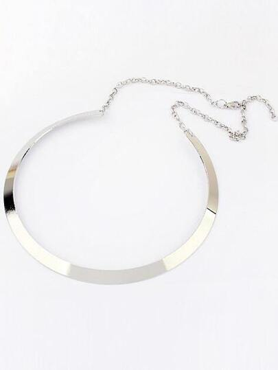 Silver Metallic Circle Necklace