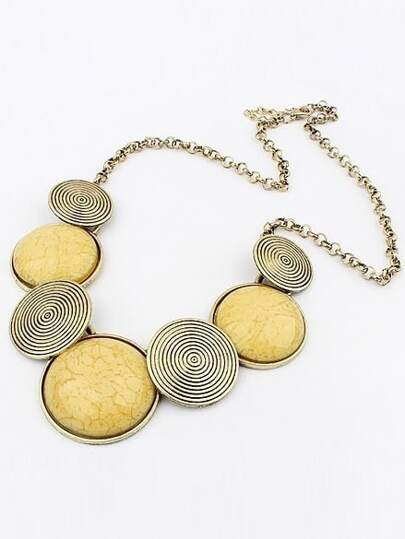 Collana pietra preziosa di metallo rotonda Giallo