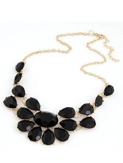 Black Drop Gemstone Necklace