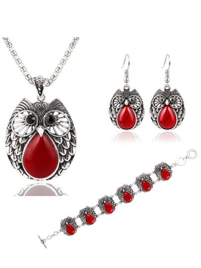 Red Owl Jewelry Set