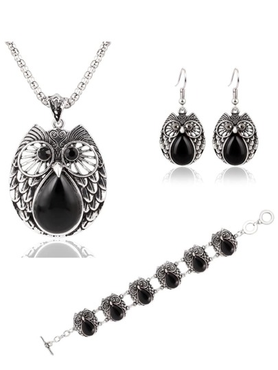 Black Owl Jewelry Set