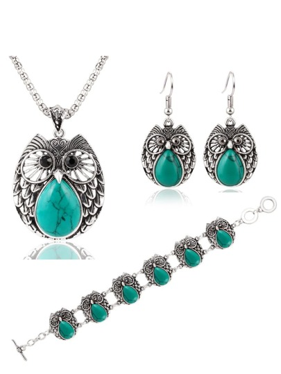 Green Owl Jewelry Set