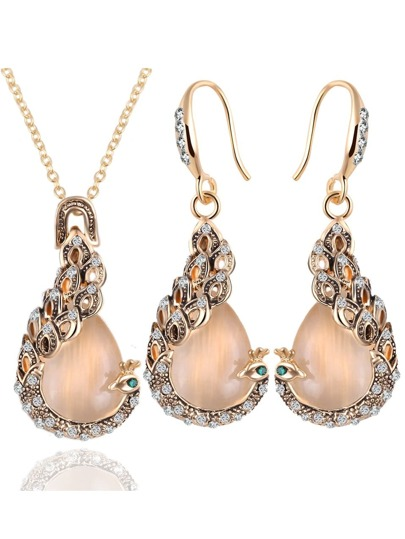 Gold Crystals Peacock Jewelry Set