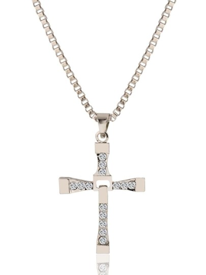 Silver Cross Rhinestone Pendant Necklace