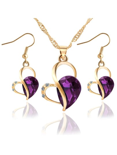 Purple Heart Drop Crystal Jewelry Set