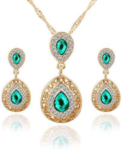 Green Drop Crystal Rhinestone Jewelry Set