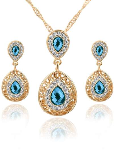 Blue Drop Crystal Rhinestone Jewelry Set