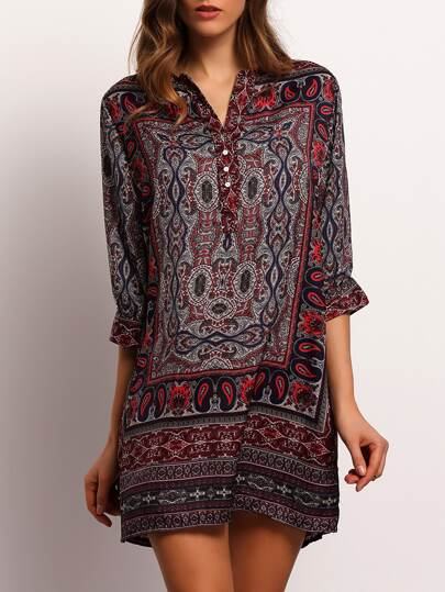 V-Cut Tribal Print Shirt Dress