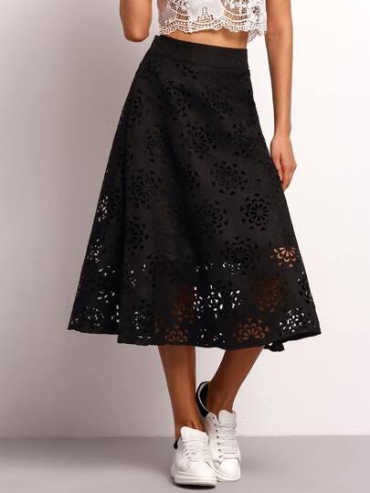 Black High Waist Hollow Flare Skirt