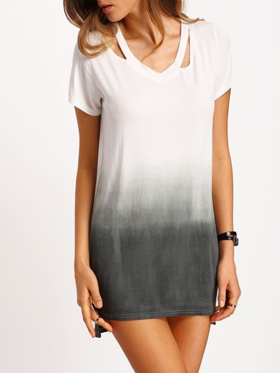 Grey Ombre Hollow Loose Long T-Shirt