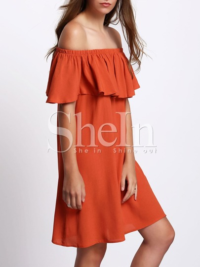 Orange Off The Shoulder Ruffle Shift Dress