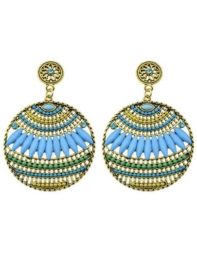 Blue Beads Round Stud Earrings
