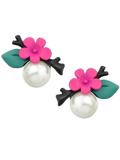 Hotpink Flower Pearl Stud Earrings