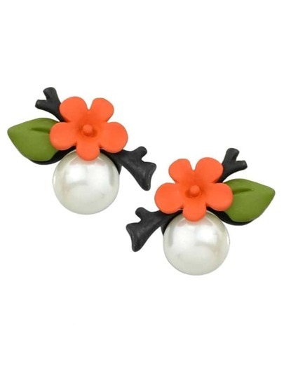Orange Flower Pearl Stud Earrings
