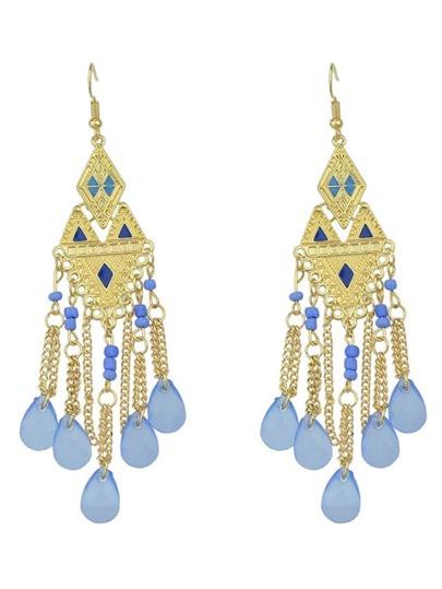 Blue Beads Chandelier Earrings
