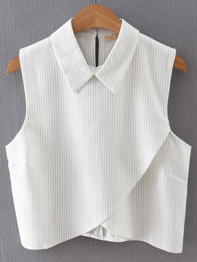 Vertical Striped Wrap White Shirt