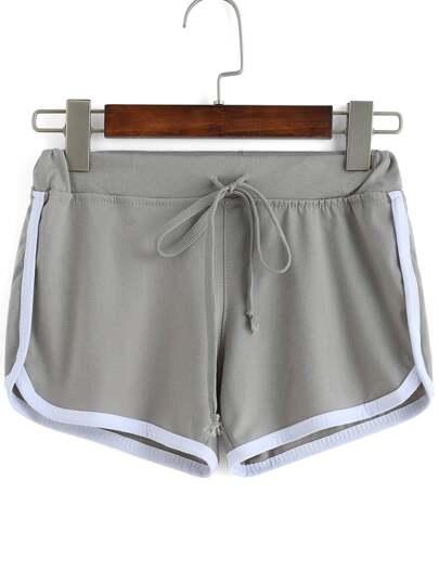 Contrast Draw Cord Waist Grey Shorts