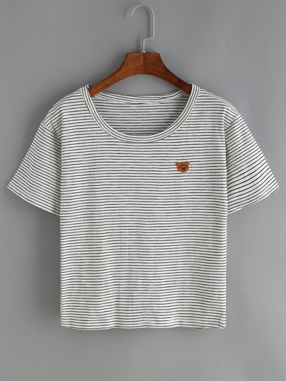 Pinstriped Bear Patch T-Shirt