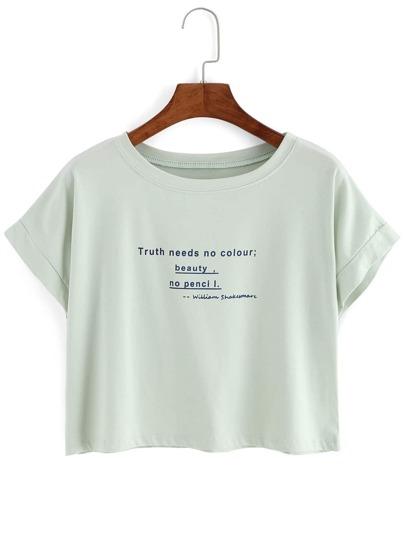 Camiseta corta cuello redondo manga corta letra -verde claro