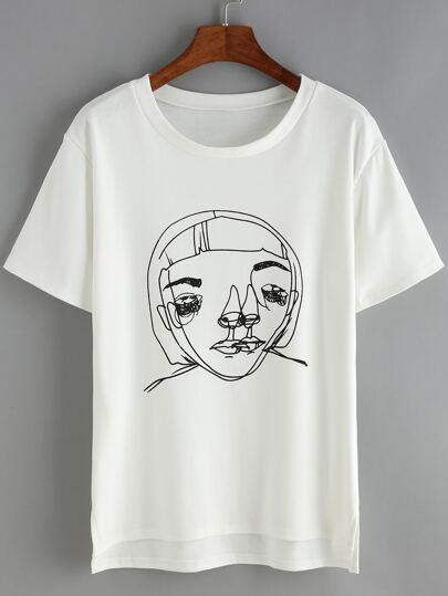 Dip Hem Print White T-Shirt
