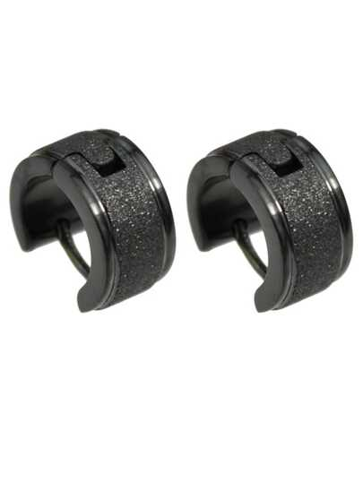 Black Plated Small Clip On Earrings