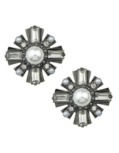 Pearl Snowflake Stud Earrings
