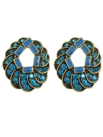 Beautiful Blue Rhinestone Stud Earring