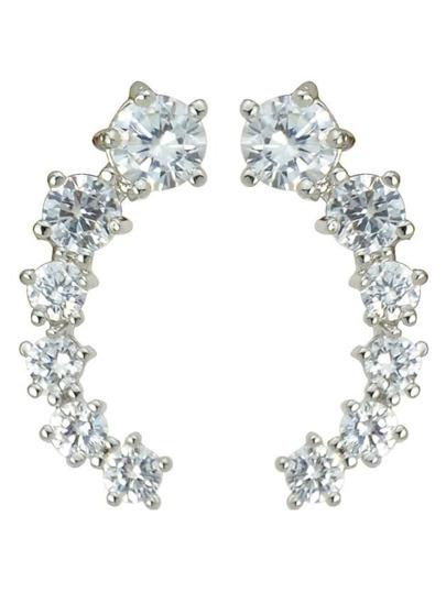 Silver Rhinestone Long Stud Earrings