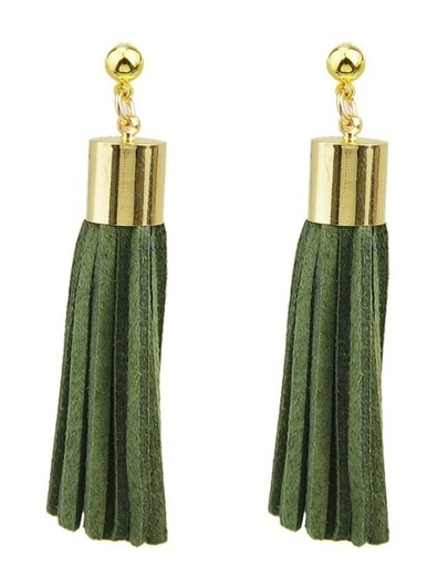 Green Pu Leather Tassel Earrings