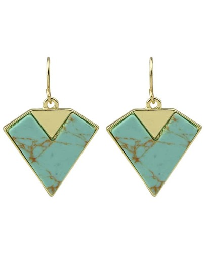 Blue Triangle Drop Earrings