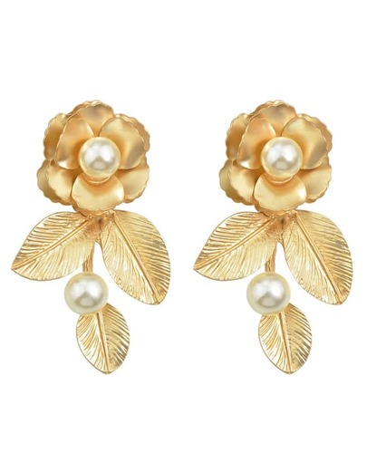Gold Plated Pearl Flower Earrings
