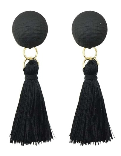 Black Line Made Tassel Earrings
