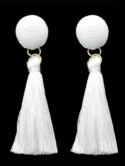 White Line Made Tassel Earrings