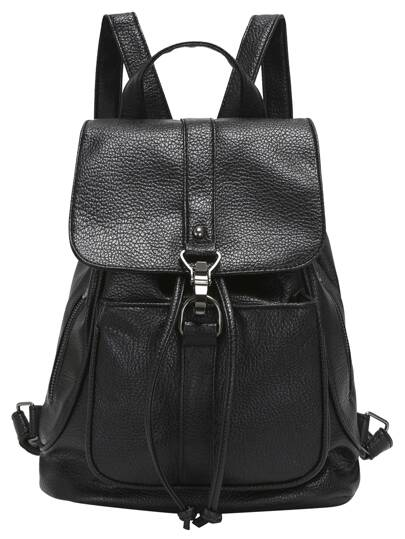 Black Buckle Drawstring PU Backpacks