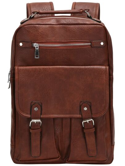 Brown Buckle Zipper PU Backpacks