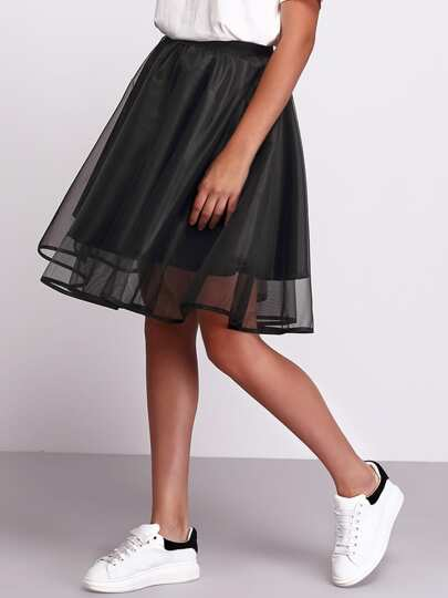 Black Sheer Mesh Flare Skirt