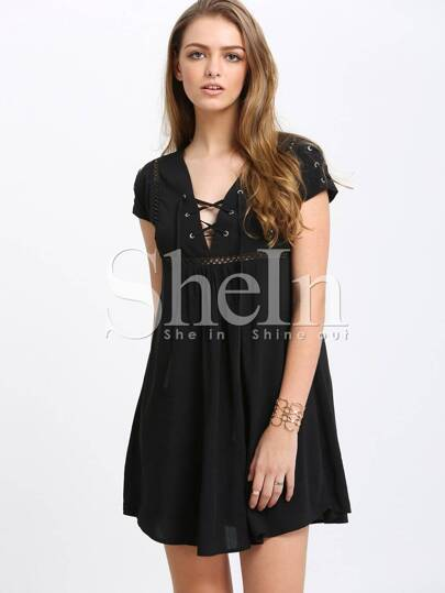 Black Hollow Out Lace Up Shift Dress