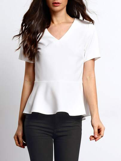 White V Neck Ruffle Hem Slim Blouse