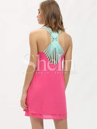 Hot Pink Backless Straps Shift Dress