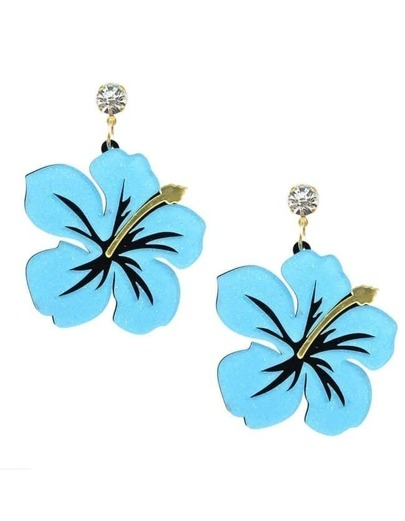 Blue Big Flower Earrings